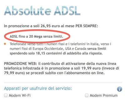 Schermata pagina di sottoscrizione Absolute ADSL